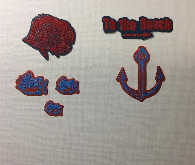 La técnica sello es gofrado calor. Imágenes sello con gofrado tinta sobre cartulina de colores. Aplicar polvo, el rojo o azul. Agitar el exceso de apagado. Calor para fundir el polvo para formar imágenes. Luego corte quisquilloso.