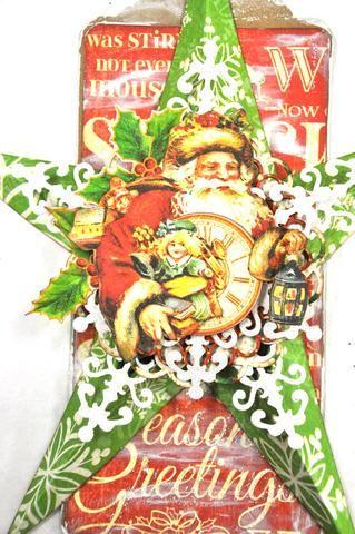 Cortar el padre de Navidad y un pequeño reloj de su hoja de