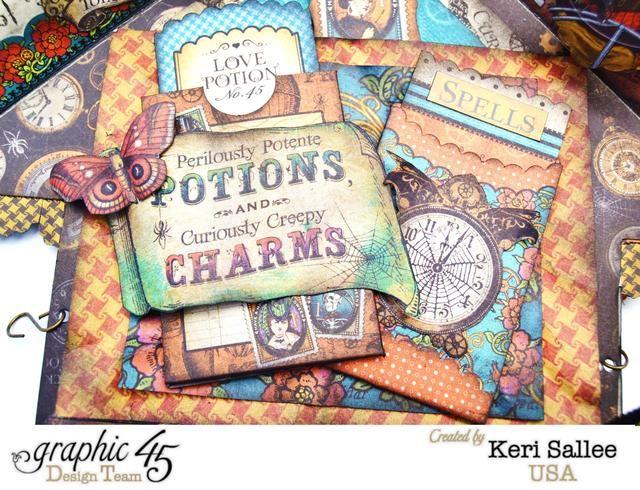 Steampunk hechizos Etiquetas y bolsillos hacen fácil el trabajo de este lado. Simplemente capa 2 contrastantes tapetes de papel hacia abajo y luego la capa bolsillos, pegatinas e imágenes cortadas quisquillosos en la parte superior.