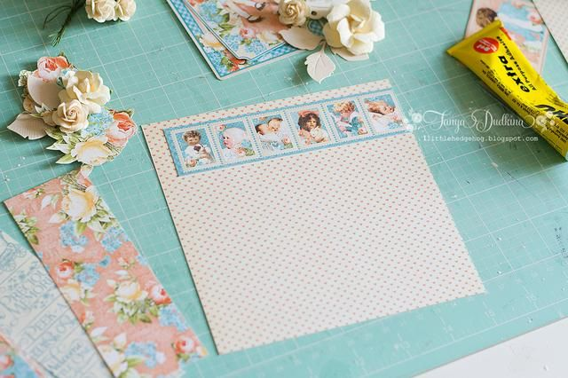 Elegí colecciones Recuerdos preciosos. El tamaño de mi tarjeta es de 6 por 6 pulgadas. Aplico frontera adorable de la hoja de papel de las fronteras.