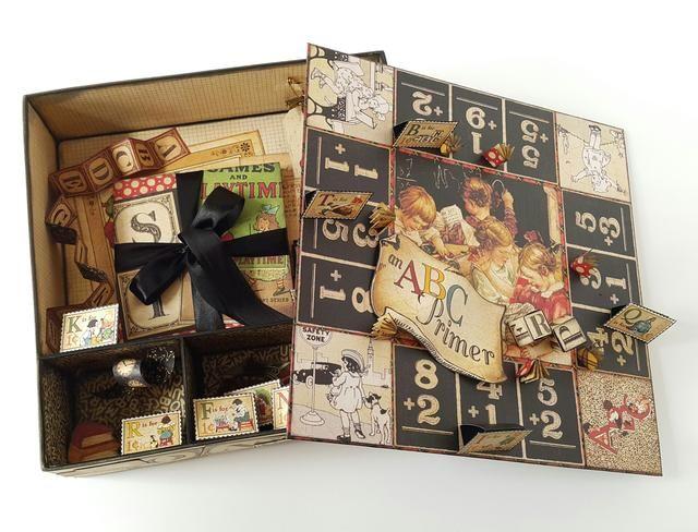 Puedes decorar tu caja con diferentes tipos de productos Graphic45 ...... y hecho!