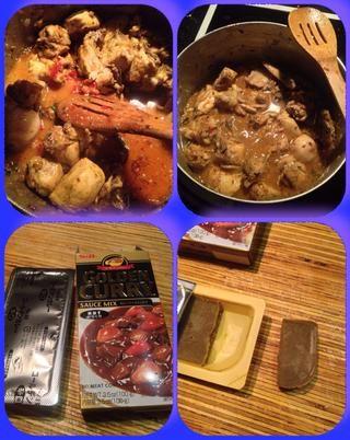 De a izquierda. Mezclar en la mezcla durante el paso anterior y mezclar en la mezcla de la salsa por primera mezcla en un poco de agua caliente y los mezcla para el curry