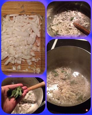 Tome una de las cebollas y los dados se anuncio a que la olla con su manteca y pepinillo especias ad algunos Curry deja revuelo y Till cebolla empiece pardeamiento