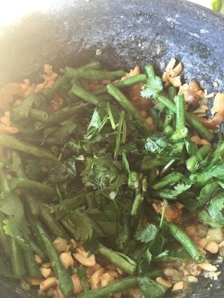 Agregue la albahaca y el cilantro y seguir moretones ella. Tanto la albahaca y el cilantro es opcional. Me encanta añadir la albahaca en mi ensalada. Me encanta el sabor y el olor de ella.