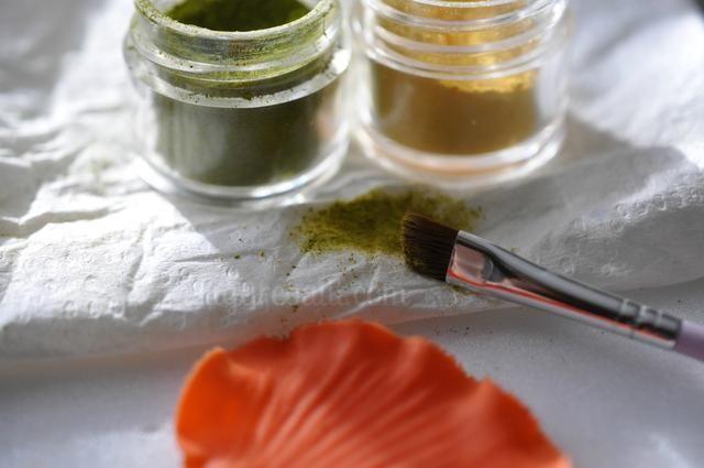 Una vez pétalos están secos, mezclar un poco verde kiwi y el polvo narciso en una hoja limpia de papel toalla.