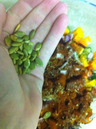 Añadir un puñado de semillas de calabaza (sin sal !!!)