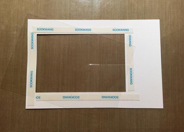 Adherirse acetato de detrás de la rectangular recorte