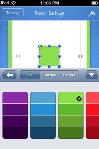 Toque FILL, y elegir un color de relleno. Toque HECHO