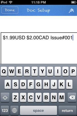 Añadir una forma TEXT y escriba en el precio de la revista. La mayoría de las revistas tienen un precio de Estados Unidos y Canadá. Añadir el número tema también. Ahora salir de esta aplicación por un segundo, y abrir CREADOR QR.