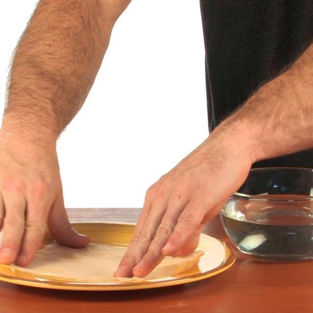 Coloque la toalla de papel húmeda plana en el plato.