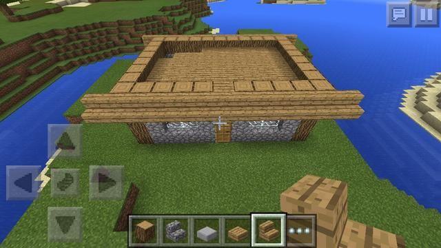 Quinta capa de poner un alto muro 1 bloque de madera (de cualquier tipo que utiliza roble) y construir losas de madera como la palabra al segundo piso