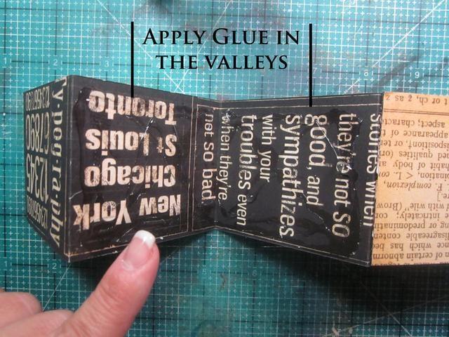 Aplique el pegamento en los valles y la cola de los valles juntos. Solía Beacon Zip seque el pegamento que funciona realmente muy bien con papel. Esto va a hacer un mini libro con páginas.