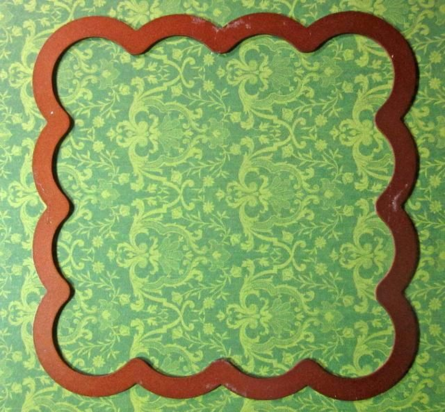 Siguiente usar un troquel para cortar un frente. usted'll want to use one that is about 3 1/2 x 3 1/2 inches in sizes. I'm using the scalloped square from Spellbinders Dies.
