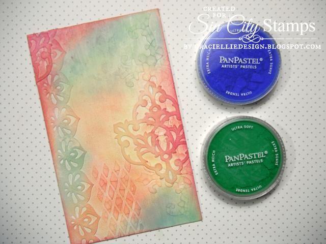 También me coloreé la lona con un poco de verde Permanente y azul ultramar Pan Pasteles.