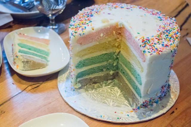 Para ver más fotos: http://annezca.blogspot.ca/2014/12/multi-layer-rainbow-cake.html