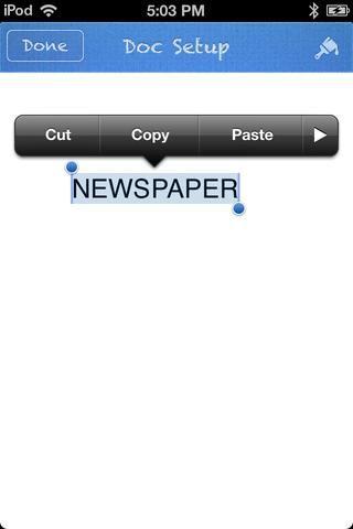 Escriba el gran titular. (Esto también podría ser el nombre de su periódico). Toque el icono en la parte superior derecha de la pantalla que se ve como un pincel.