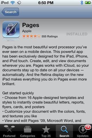 Descarga la aplicación PÁGINAS por Apple desde la tienda de aplicaciones. Precio: 10 $