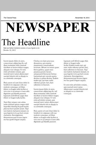 Después de mirar un periódico, lo hice esta configuración. También usé texto Times New Roman para el titular.