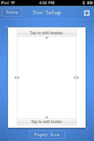 Esta pantalla se van a plantear. Tenemos que añadir un PRECIO, una fecha, y una regla horizontal para la página de un periódico (Una regla horizontal es sólo una fina línea horizontal). Toque en donde dice,''TAP TO EDIT HEADER.''