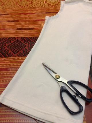 Doble por la mitad, y se corta rayas anchas 1 pulgada hasta el final de la manga. (De izquierda a derecha, no de arriba hacia abajo) 1 utilizó 15 rayas para mi bufanda.