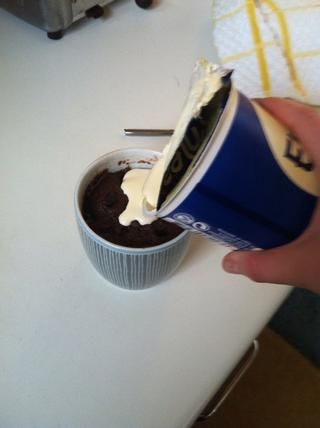 Me encanta añadir un poco de crema doble al :-) superior