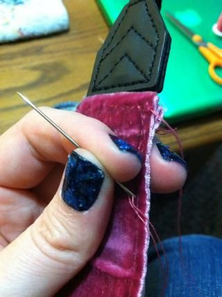 Ello's pretty thick to sew through so use a bigger needle to make it a little easier.