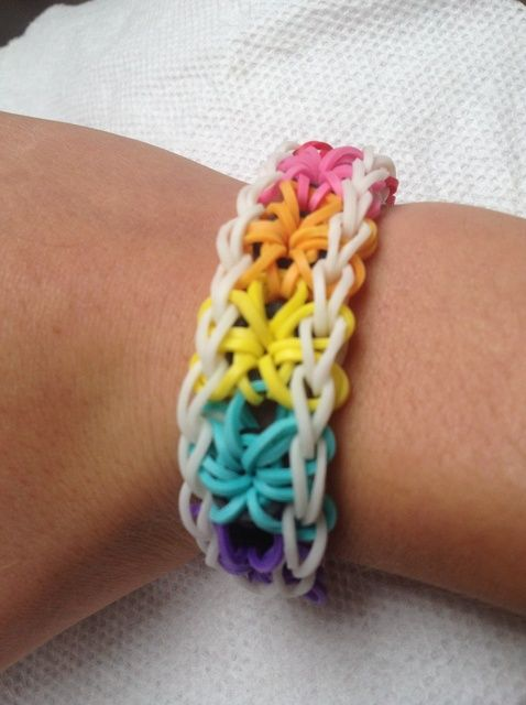 Cómo hacer un arco iris Loom Starburst pulsera