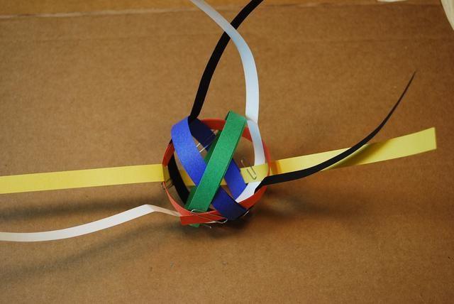 Bobina de la tira verde para el tamaño del bucle de naranja. Asegúrese de que el lazo verde se va sobre el lazo azul como se muestra arriba.
