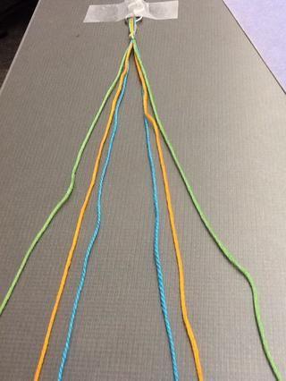 Divida el hilo de manera uniforme con tres colores en cada lado. Asegúrese de que los colores están en el mismo orden para ambas partes - como si se reflejó.