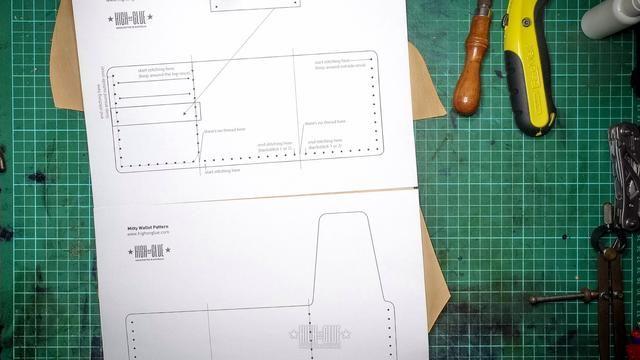 Imprima el patrón - Este patrón debe darle todas las instrucciones necesarias para que la billetera. Asegúrese de que se imprima al 100%