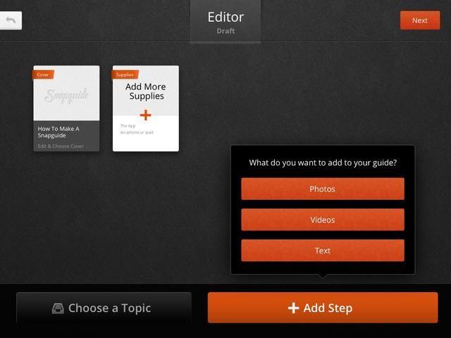Ahora es el momento de añadir ya sea fotos, vídeo o texto para crear su guía.
