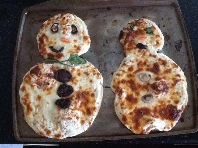 Cómo hacer un muñeco de nieve pizza Receta