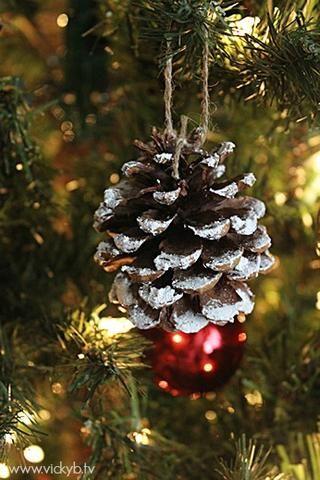 Si usted tiene algunas piñas sobrantes, puede añadir a su árbol de Navidad. Acabo de utilizar un poco de guita, creé un bucle y pegamento aceleró el cordel a la piña.