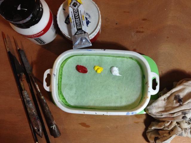 Mezcle los colores en su paleta normal (yo uso una vieja hoja de vidrio) y saca de ellos en el contenedor-estancia húmeda con una espátula.