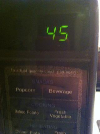 Microondas durante 45 segundos
