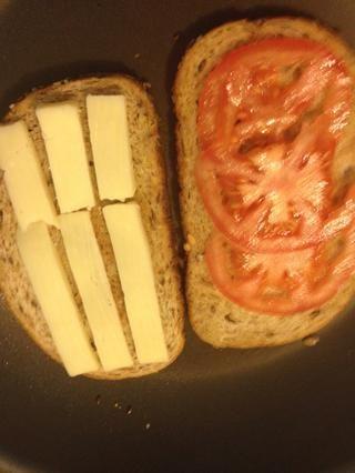 Ponga el queso y el tomate en el pan y cerrar el bocadillo y seguir cocinando hasta su agradable y crujientes por ambos lados.