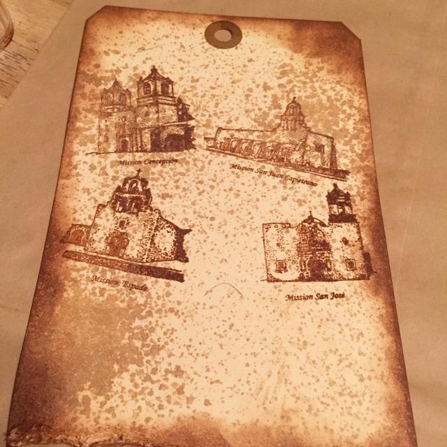misiones de sello con los nombres siguientes en la etiqueta utilizando tinta castaña Roan Tiza