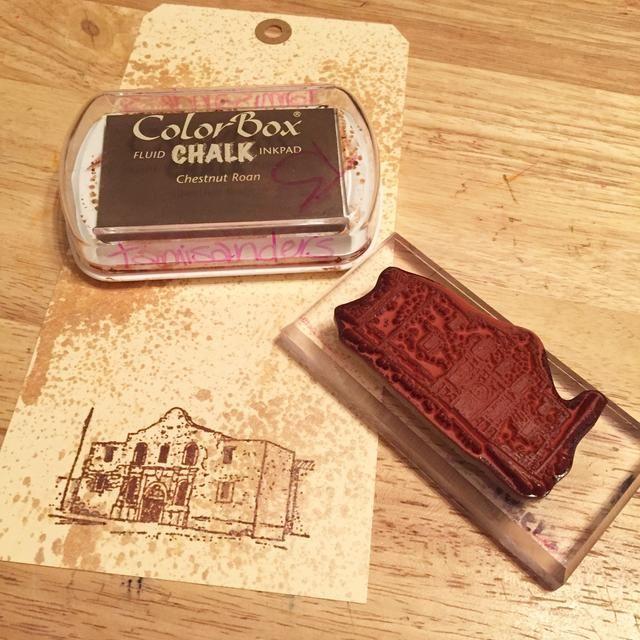 estampar Alamo en la parte inferior de la etiqueta de uso de la castaña Roan Tiza Tinta