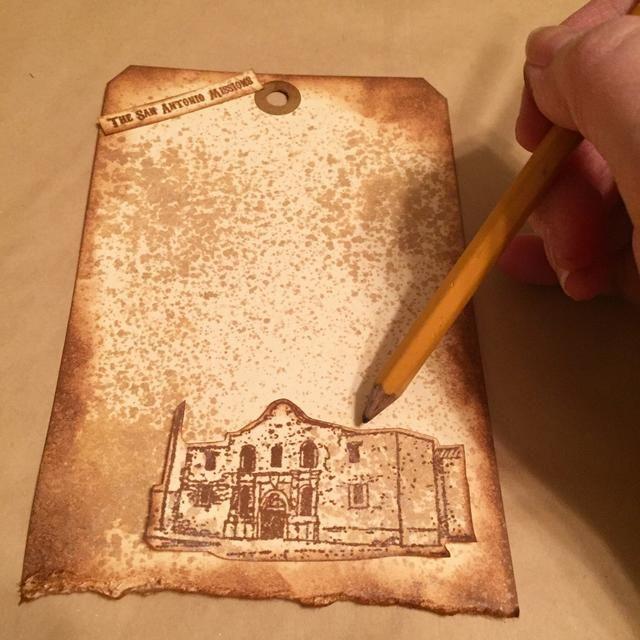 piezas de diseño en la etiqueta como se muestra y marcan la colocación con el lápiz