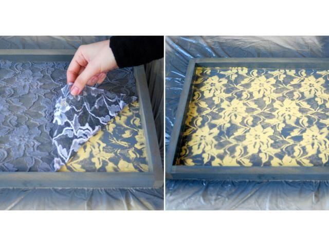 Después del secado, retire la pieza de encaje para el acabado, vierta un sellador a base de agua en toda la bandeja.