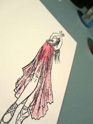 Pisé esta bailarina de Viva Las VegaStamps! sobre papel de acuarela y pintado su vestido con el Fiesta. Esta imagen será cortada quisquilloso para agregar a mi etiqueta.