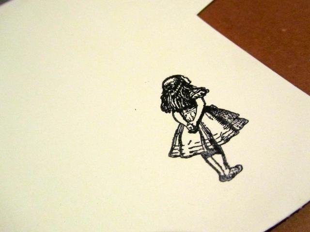 Estampada la TBTS! Alice sobre papel de acuarela.