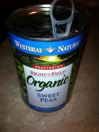 Drenaje 15 oz lata de guisantes dulces o verdes.