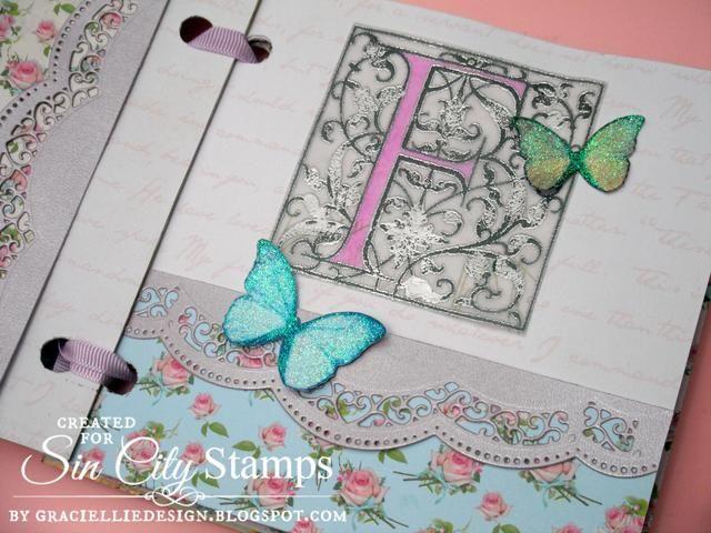 Dentro he decorado las páginas con más mariposas, morir fronteras de corte y elementos impresos como esta carta vitela. He añadido color a la carta con un marcador de alcohol. Esta página también tiene un bolsillo agradable.