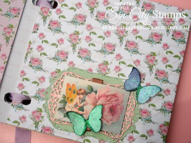 Para la página final he añadido una pequeña imagen de hadas enmarcada y un par de mariposas ...
