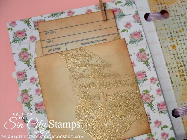 Y adherido la tarjeta de la biblioteca y el sobre en la parte posterior con un pequeño perno de madera, que coincide muy bien. + Visita el cargo oficial aquí: http://sincity-stamps.blogspot.com/2014/08/vintage-fairy-album.html