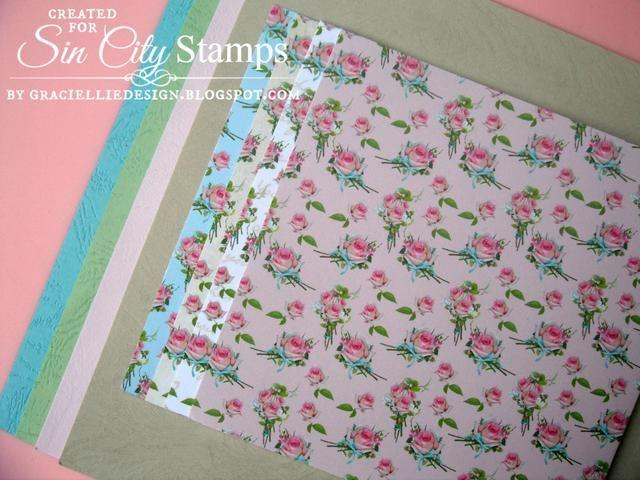 También usé floral patrón de papel desde Graciellie Diseño y textura de cuero y papel de tarjetas metálico.