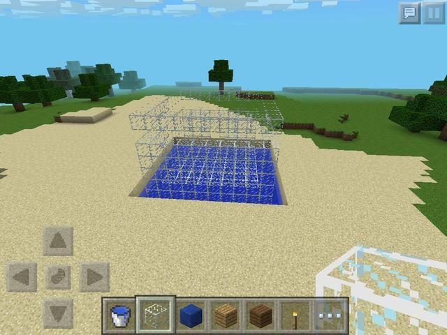 Construir las paredes 6 en alto la desenterrar el bloque 2 de la parte superior