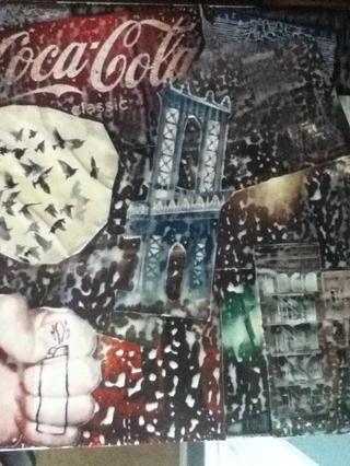 Después de agregar el Modge-Podge, el collage se verá como un lío Dios-horrible -) Don't worry about it, just let it dry.