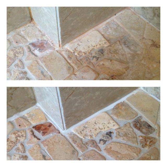 El suelo de mi cuarto de baño. El agua es muy dura y dejar estas marcas rojizas. Yo estaba un poco reacio a utilizar el limpiador de limón, ya que es de mármol. Esto es antes y después de usar la solución más suave